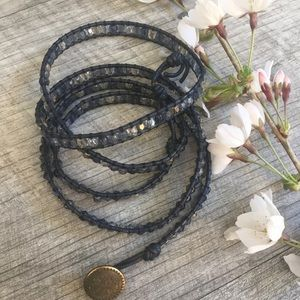Jewelry - Leather and crystal 5 wrap bracelet